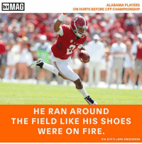 Shoes, Sports, and Alabama: b/r MAG  ALABAMA PLAYERS  ON HURTS BEFORE CFP CHAMPIONSHIP  HE RAN AROUND  THE FIELD LIKE HIS SHOES  WERE ON FIRE.  VIA B/R'S LARS ANDERSON Within three hours of arriving on Alabama's campus, Jalen Hurts was playing as Deshaun Watson on the scout team. BRmag [Read the full story in the B-R app - link in bio]