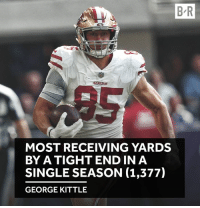Broomstick, Single, and Breakout: B R  MOST RECEIVING YARDS  BY A TIGHT ENDIN A  SINGLE SEASON (1,377)  GEORGE KITTLE A breakout season for George Kittle 👏