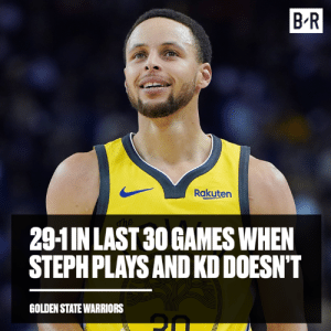👀: B-R  Rakuten  29-1INLAST 30 GAMES WHEN  STEPHPLAYS AND KD DOESN'T  GOLDEN STATE WARRIORS 👀