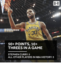 Steph in a league of his own 💦: B R  Rakuten  50+ POINTS, 10+  THREES IN A GAME  200ザ  STEPHEN CURRY: 5  ALL OTHER PLAYERS IN NBA HISTORY: 3 Steph in a league of his own 💦