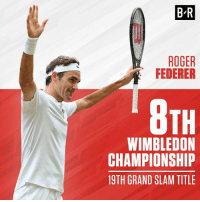 Congrats, Roger Federer! 👏  Another Wimbledon title 🏆: B R  ROGER  FEDERER  TH  WIMBLEDON  CHAMPIONSHIP  19TH GRAND SLAM TITLE Congrats, Roger Federer! 👏  Another Wimbledon title 🏆