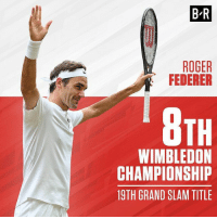 Roger, Sports, and Grand: B-R  ROGER  FEDERER  WIMBLEDON  CHAMPIONSHIP  19TH GRAND SLAM TITLE Congrats, Roger Federer! 🏆