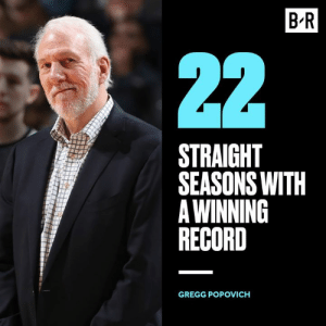 Nba, Best, and Record: B-R  STRAIGHT  SEASONS WITH  A WINNING  RECORD  GREGG POPOVICH Best NBA coach of all time?
