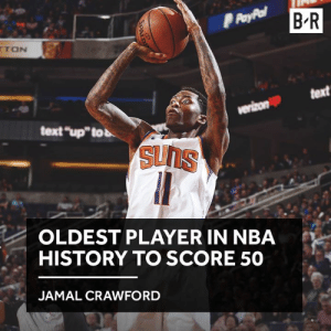 "Crawford almost stole the show in Dirk's final home game: B R  TON  text  text ""up""tob  OLDEST PLAYER IN NBA  HISTORY TO SCORE 50  JAMAL CRAWFORD Crawford almost stole the show in Dirk's final home game"