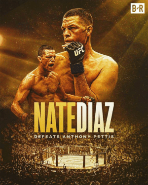 First fight in three years?  Dominant victory for Nate Diaz  #UFC241: B R  UFC  NATEDIAZ  DEFEATS A NTHONY PETTIS  BA First fight in three years?  Dominant victory for Nate Diaz  #UFC241