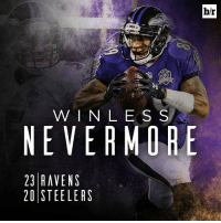 Baltimore Ravens, Sports, and Justin Tucker: b/r  W I N L E S S  NEVER MORE  23 RAVENS  20 STEELERS Justin Tucker kicks a 52-yard FG to beat the Steelers in OT and the Baltimore Ravens get their first win!