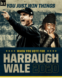 Michigan coach Jim Harbaugh, rapper @Wale team up for 2020 presidential race. 😂😂😂: b r  YOU JUST WIN THINGS  WHEN YOU VOTE FOR  HARBAUGH  WALE  20 20 Michigan coach Jim Harbaugh, rapper @Wale team up for 2020 presidential race. 😂😂😂