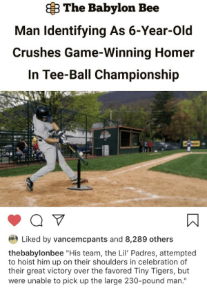 """Game, Tigers, and Babylon: B The Babylon Bee  Man Identifying As 6-Year-Old  Crushes Game-Winning Homer  In Tee-Ball Championship  Liked by vancemcpants and 8,289 others  thebabylonbee """"His team, the Lil' Padres, attempted  to hoist him up on their shoulders in celebration of  their great victory over the favored Tiny Tigers, but  were unable to pick up the large 230-pound man."""" What a champ"""