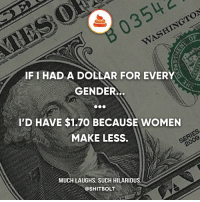 TRIGGERED — Credit: -u-BadMouth55: B03542  WASHINGTON  IFI HAD A DOLLAR FOR EVERY  GENDER..  I'D HAVE $1.70 BECAUSE WOMEN  MAKE LESS  2009  MUCH LAUGHS. SUCH HILARIOUS  @SHITBOLT TRIGGERED — Credit: -u-BadMouth55