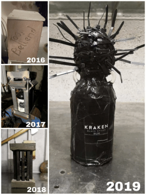 Each year a friend buys me a bottle of rum for my birthday, he likes to be creative with his wrapping.: BA17  2016  KRAK  2017  KRAKEN  BLACK SPICED  RUM  2019  2018  TOO,  Bellend Each year a friend buys me a bottle of rum for my birthday, he likes to be creative with his wrapping.