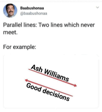 Ash, Good, and Decisions: Baabushonaa  @baabushonaa  Parallel lines: Two lines which never  meet.  For example:  Ash Williams  Good decisions