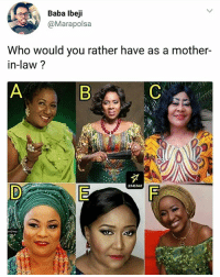 Memes, Would You Rather, and Baba: Baba Ibeji  @Marapolsa  Who would you rather have as a mother-  in-law ?  234STAR Who? 🤔