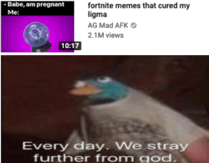 God, Memes, and Pregnant: Babe, am pregnant  Me:  fortnite memes that cured my  ligma  AG Mad AFK  2.1M views  10:17  Every day. We st  ray  further from god Why does it have to exist