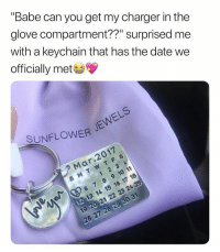"Personalized calendar keychains, custom necklaces, rings & more💖 you all should follow @sunflowerjewels i love their feed😍 Choose yours at sunflowerjewels.com 🌻 25% OFF everything! Enter code INSTA25 🌙 Shop & Follow @sunflowerjewels @sunflowerjewels @sunflowerjewels 🙂 Get yours now, link in @sunflowerjewels bio 😻: ""Babe can you get my charger in the  glove compartment??"" surprised me  with a keychain that has the date we  officially met  SUNFLOWERJe  Mar.2017  6 7 8 9 10 11  19 20 21 22 23 24 Personalized calendar keychains, custom necklaces, rings & more💖 you all should follow @sunflowerjewels i love their feed😍 Choose yours at sunflowerjewels.com 🌻 25% OFF everything! Enter code INSTA25 🌙 Shop & Follow @sunflowerjewels @sunflowerjewels @sunflowerjewels 🙂 Get yours now, link in @sunflowerjewels bio 😻"