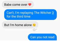Being Alone, Come Over, and Home Alone: Babe come over  Can't, I'm replaying The Witcher 3  for the third time  But I'm home alone  Can you not read Priorities 👍