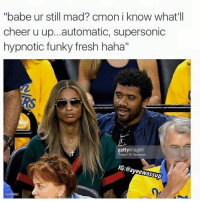 "hypnotized: ''babe ur still mad? cmon i know what'll  cheer u up...automatic, supersonic  hypnotic funky fresh haha""  getty images  Thear on W.  IG: Tayeewassup"