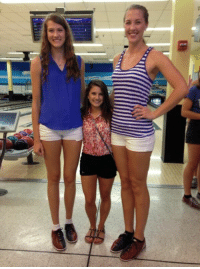 Tumblr, Blog, and Cheerleader: baboushkat:  peterfromtexas:  UCF two tallest volleyball players and shortest cheerleader  its like they're not even the same species.