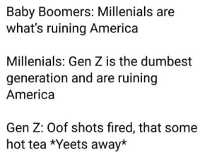 America, Baby, and Tea: Baby Boomers: Millenials are  what's ruining America  Millenials: Gen Z is the dumbest  generation and are ruining  America  Gen Z: Oof shots fired, that some  hot tea *Yeets away*