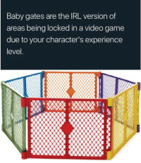Game, Video, and Experience: Baby gates are the IRL version of  areas being locked in a video game  due to your character's experience  level