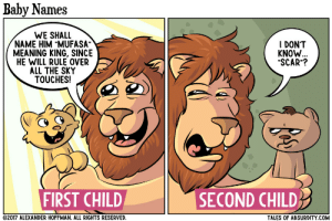 """omg-images:  Baby names: Baby Names  WE SHALL  NAME HIM """"MUFASA""""  MEANING KING, SINCE  HE WILL RULE OVER  ALL THE SKY  TOUCHES!  I DONT  KNOW  """"SCAR""""?  FIRST CHILD  SECOND CHILD  2017 ALEXANDER HOFFMAN. ALL RIGHTS RESERVED  TALES OF ABSURDITY COM omg-images:  Baby names"""