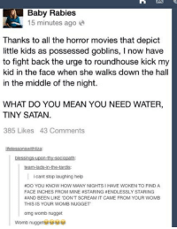 Movies, Omg, and Scream: Baby Rabies  15 minutes ago e  Thanks to all the horror movies that depict  little kids as possessed goblins, I now have  to fight back the urge to roundhouse kick my  kid in the face when she walks down the hall  in the middle of the night.  WHAT DO YOU MEAN YOU NEED WATER,  TINY SATAN.  385 Likes 43 Comments  lifelessonswithliza  blessings-tupon-thy-sociopath  team-lads-in-the-tardis  i cant stop laughing help  #DO YOU KNOW HOW MANY NIGHTS I HAVE WOKEN TO FIND A  FACE INCHES FROM MINE #STARING #ENDLESSLY STARING  #AND BEEN LIKE 'DON'T SCREAM IT CAME FROM YOUR WOMB  THIS IS YOUR WOMB NUGGET  omg womb nugget  Womb nugget0