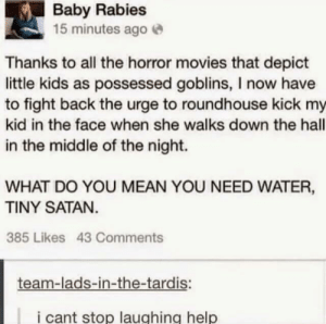 Should invest in holy water: Baby Rabies  15 minutes agoe  Thanks to all the horror movies that depict  little kids as possessed goblins, I now have  to fight back the urge to roundhouse kick my  kid in the face when she walks down the hall  in the middle of the night.  WHAT DO YOU MEAN YOU NEED WATER,  TINY SATAN  385 Likes 43 Comments  team-lads-in-the-tardis:  i cant stop laughing help Should invest in holy water