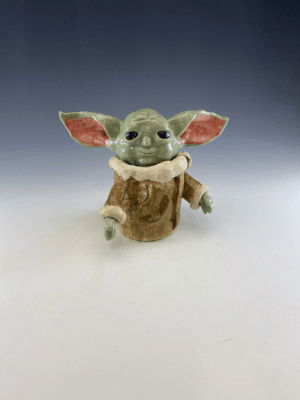 Baby Yoda Made in my ceramics class by a kid in my school at Davinci Academy: Baby Yoda Made in my ceramics class by a kid in my school at Davinci Academy