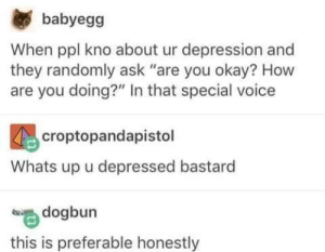 "Funny, Tumblr, and Depression: babyegg  When ppl kno about ur depression and  they randomly ask ""are you okay? How  are you doing?"" In that special voice  croptopandapistol  Whats up u depressed bastard  dogbun  this is preferable honestly"