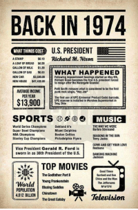 """FWD: THINGS SURE WERE DIFFERENT BACK IN THE DAY!!!!: BACK IN 1974  WHAT THINGS COST  US. PRESIDENT  ASTAMP so10 Richard M. Nixon  S0.10  A LOAF OF BREAD $0.28  GALLON OF MILK S1.39  GALLON OF GAS 053  HAPPENED  WHAT  Following impeachment hearings started on May 9th,  Richard Nixon becomes the first U.S. president forced  NEW CAR  $3,500.00  NEW HOUSE $7300tb resign after the Watergate Scandal  Patti Smith releases what is considered to be the first  punk rock single, """"Hey Joe  AVERAGE INCOME  PER YEAR  The first use ot UPC (Universal Product Code) barcode.  $13,900  UPC scanners installed in Marshes Supermarket in  Troy, Ohio  MUSIC  World Series Champions akland A's  Super Bowl Champions  NBA Champions  Stanley Cup Champions Piladelphia Flyers  THE WAY WE WERE  Barbra Streisand  SEASONS IN THE SUN  Terry Jacks  COMEAND GET YOUR LOVE  Redbone  DANCING MACHINE  Jackson  Miami Dolphins  Boston Celtics  Vice President Gerald R. Ford is  sworn in as 38th President of the U.S.  TOP MOVIESV  The Godfather Parti  Young Frankenstein  Good Times  Sanford and Son  Chico and the Man  The Jeffersons  MA S'H  4012 BILION Chinatown  oa  Television  The Great Gatsby FWD: THINGS SURE WERE DIFFERENT BACK IN THE DAY!!!!"""
