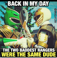 "Memes, 🤖, and Eye: BACK IN MY DAY  THE TWO BADDEST RANGERS  WERE THE SAME DUDE As true then as it is now. @jdfffn 🙌🏾⚡️That trademarked battle cry was my 10-year old life: ""HYUT-SYUT... HAAA!!"" 😂 Repost from @druclay209. Cosplay (both lol) by @anerdatthecoolkidstable -- 🚨✈️ Just touched down in LA. Remember to keep an eye on my Insta-stories later tonight for vids from the Red Carpet premiere of the @powerrangersmovie! 👍🏾 TogetherWeAreMore PowerRangersMovie"