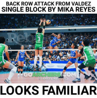Volleyball, Filipino (Language), and Single: BACK ROW ATTACK FROM VALDEZ  SINGLE BLOCK BY MIKA REYES  Tre  REVES  ART  LOOKS FAMILIAR Parang pamilyar... 😂🤔🤔