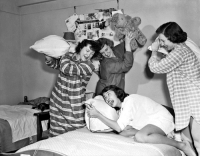 Tumblr, Blog, and Http: back-then:  Four young women having a pillow fight in their dorm room January 1949  Source: Indiana University Photo Collections