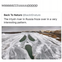 Funny, Lmao, and Nature: Back To Nature @backt0nature  The Irtysh river in Russia froze over in a very  interesting pattern. Lmao