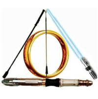 Back to the classic- The ultimate nerd-bendered Deathly Hallows! Featuring- Irene Adler's riding crop, Katniss' arrow, The Doctor's sonic screwdriver, a blue lightsaber (possibly Anakin's), the One Ring and of course, the Deathly Hallows from Harry Potter.: Back to the classic- The ultimate nerd-bendered Deathly Hallows! Featuring- Irene Adler's riding crop, Katniss' arrow, The Doctor's sonic screwdriver, a blue lightsaber (possibly Anakin's), the One Ring and of course, the Deathly Hallows from Harry Potter.