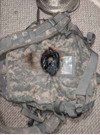 Backpack of american soldier killed by a laser rifle durring the first offensive of the space force(2103): Backpack of american soldier killed by a laser rifle durring the first offensive of the space force(2103)