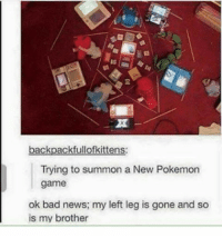 Anime, Bad, and Dank: backpackfullofkittens:  Trying to summon a New Pokemon  game  ok bad news: my left leg is gone and so  is my brother When Fullmetal Alchemist meets Pokémon 😍 - Sent in by FunnyPokemonAmbassador @Turtw1g_ ! Thanks! ___________ Want to become an official Funny Pokemon Ambassador too? Then DM us your best and funniest pokemon memes to feature 😀 ___________ pokemon nintendo anime art blizzard deviantart pokemonart videogames comics pikachu meme draw dankmemes pokemoncards followme gamer gaming pokemontcg dank pokemongo fun pokemonmemes fullmetalalchemist likeme lol disney pikachu pokeball hocuspocus