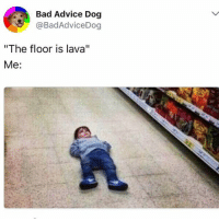 "Advice, Bad, and Memes: Bad Advice Dog  @BadAdviceDog  ""The floor is lava""  Me:"