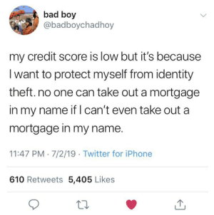 Bad, Iphone, and Twitter: bad boy  @badboychadhoy  my credit score is low but it's because  Iwant to protect myself from identity  theft.no one can take out a mortgage  in my name if can't even take out a  mortgage in my name.  11:47 PM 7/2/19 Twitter for iPhone  610 Retweets 5,405 Likes SLPT: How to prevent identity theft