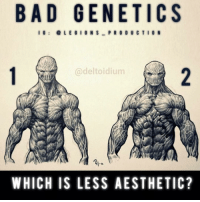 """😳🤔BAD GENETICS! Which do you find less aesthetic? 1? Or 2? Vote below! Thoughts? 🤔Opinions? What do you guys think? COMMENT BELOW! Artwork by: @deltoidium. TAG SOMEONE who needs to lift! _________________ Check out our principal account: @fitness_legions for the best fitness and nutrition information! Like✅ us on Facebook👉: """"Legions Production"""" for a chance at having a shoutout. @legions_production🏆🏆🏆.: BAD GENETICS  I G  L E G I O N S  PRODUCTION  Cadeltoidium  IG  WHICH IS LESS AESTHETIC? 😳🤔BAD GENETICS! Which do you find less aesthetic? 1? Or 2? Vote below! Thoughts? 🤔Opinions? What do you guys think? COMMENT BELOW! Artwork by: @deltoidium. TAG SOMEONE who needs to lift! _________________ Check out our principal account: @fitness_legions for the best fitness and nutrition information! Like✅ us on Facebook👉: """"Legions Production"""" for a chance at having a shoutout. @legions_production🏆🏆🏆."""