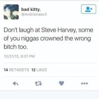 Part 12. And it goes on... 😦😱🤔 Goteeem missuniverse steveharvey: bad kitty.  @Andrianaax3  Don't laugh at Steve Harvey, some  of you niggas crowned the wrong  bitch too  12/21/15, 6:01 PM  14  RETWEETS 12  LIKES Part 12. And it goes on... 😦😱🤔 Goteeem missuniverse steveharvey