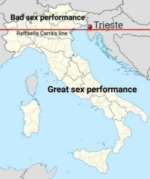 "Map according to the ""Theory of Raffaella Carrà"" about the sexual prowess of Italians: Bad sex performance  Raffaella Carra's line  Great sex performance Map according to the ""Theory of Raffaella Carrà"" about the sexual prowess of Italians"