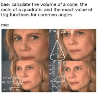 <p>I suppose</p>: bae: calculate the volume of a cone, thee  roots of a quadratic and the exact value of  trig functions for common angles  me:  sin  2  cos  tan  2x  3 <p>I suppose</p>