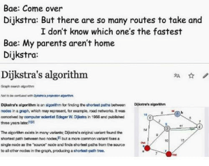 "Oldie but a goodie: Bae: Come over  Dijkstra: But there are so many routes to take and  I don't know which one's the fastest  Bae: My parents aren't home  Dijkstra:  Dijkstra's algorithm  離☆  Graph search algorthm  Nat to be contuiaed with Dyitea prajection agntm  Dijkstra's algorithm is an algorithm for finding the shortest pathsbetween  nodes in a graph, which may reprosent, for example, road networks. It was  concelved by computer sclentist Edsger W. Dijkstra in 1956 and published  three years later1  Dijkstra's aigorithm  14  The algorithm exists in many variants; Dikstra's original variant found the  shortest path between two nodes,i but a more common variant foxes a  single node as the ""source node and finds shortest paths from the source  to all other nodes in the graph, producing a shortest-path tree.  alits from the surce  10 Oldie but a goodie"