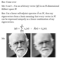 Bae, Come Over, and Meaning: Bae: Come over  Me: I can't I'm an arbitrary vector lp) in an N-dimensional  Hilbert space H  Bae: I'm a linear self-adjoint operator A on JC, thus my  eigenvectors form a basis meaning that every vector in H  can be expressed uniquely as a linear combination of my  eigenvectors:  n=1  Me