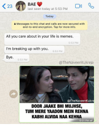 Bae, Life, and Memes: BAE  last seen today at 5:53 PM  23  Today  0 Messages to this chat and calls are now secured with  end-to-end encryption. Tap for more info.  All you care about in your life is memes.  I'm breaking up with you.  Bye  5:53 PM  5:53 PM  5:53 PM  @TheNaveenKukreja  @TheNaveenKukre  DOOR JAAKE BHI MUJHSE,  TUM MERE YAADON MEIN REHNA  KABHI ALVIDA NAA KEHNA  6:01 PM repost - @thenaveenkukreja thedesistuff