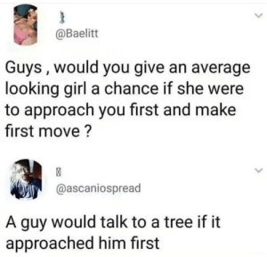 Meirl: @Baelitt  Guys, would you give an average  looking girl a chance if she were  to approach you first and make  first move?  @ascaniospread  A guy would talk to a tree if it  approached him first Meirl