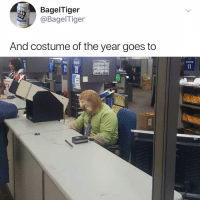 Halloween, Memes, and 🤖: BagelTiger  @BagelTiger  And costume of the year goes to Post 1473: this officially just won halloween 2018🎃