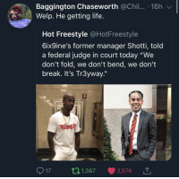 "Life, Break, and Today: Baggington Chaseworth @Chil.. 16h  Welp. He getting life.  Hot Freestyle @HotFreestyle  6ix9ine's former manager Shotti, told  a federal judge in court today ""We  don't fold, we don't bend, we don't  break. It's Tr3yway.""  17 t 1,387 3,574 Whats the dumbest thing you ever heard someone say to a judge?"