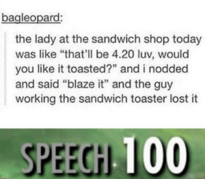 "Wholesome sandwich store (I guess): bagleopard  the lady at the sandwich shop today  was like ""that'll be 4.20 luv, would  you like it toasted?"" and i nodded  and said ""blaze it"" and the guy  working the sandwich toaster lost it  SPEEGH 100 Wholesome sandwich store (I guess)"