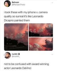 Confused, Iphone, and Leonardo DiCaprio: Bahram  @PersianThotz  i took these with my iphone x. camera  quality so surreal it's like Leonardo  Dicaprio painted them  ruckin  @ruckin_  not to be confused with award winning  actor Leonardo DaVinci Ah yes the great actor DaVinci